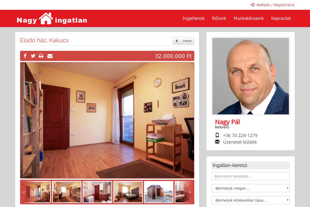 Ingatlan-közvetítő cég weboldala, összeköttetésben a Házbank keresztértékesítési rendszerrel